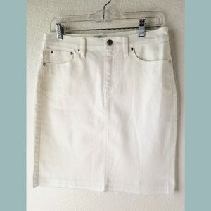 NWT J Crew White Released Hem Denim Skirt Sz 28
